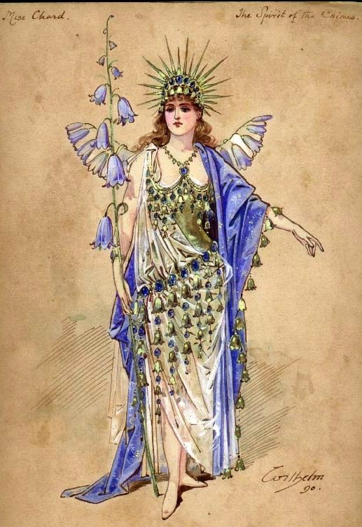 """The Spirit of the Chimes"" costume design by Wilhelm (Charles William Pitcher, 1858-1925) for Miss Chard for a performance at the Crystal Palace on 24th December 1890."