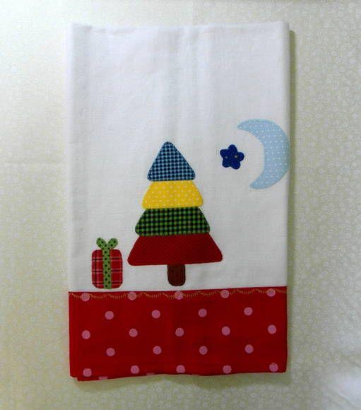 Lindo pano de prato para seu Natal, Apliques e bordados, 100% algodão R$ 25,00