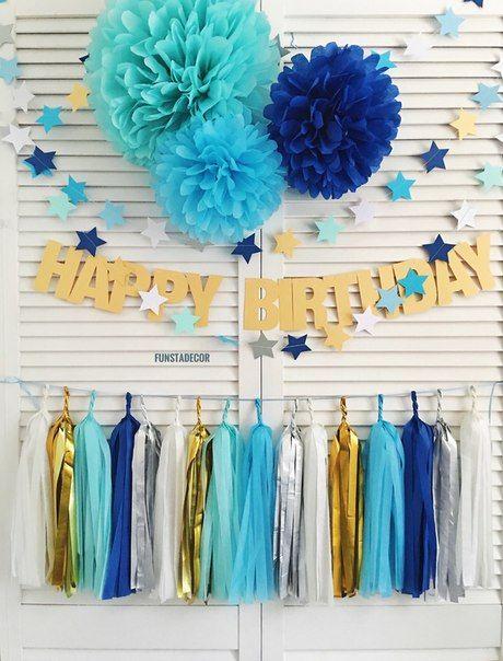 Идеи оформления Дня рождения мальчика: гирлянда-буквы, тассел, гирлянда-звездочки, помпоны