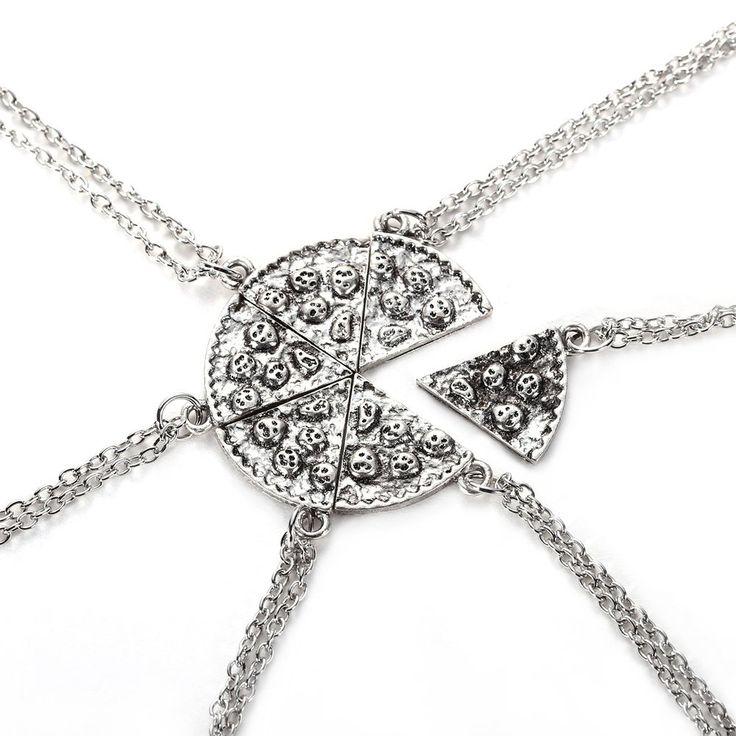 Наборы из 6 Кусков ПИЦЦЫ Кулон Ожерелья Дружба Ожерелья Серебро