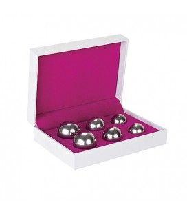 set 6 bolas chinas ben wa balls distinto peso plateado