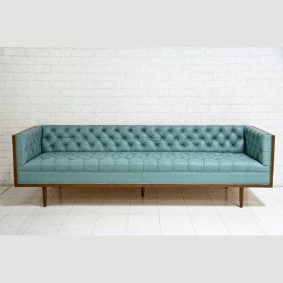 This.  Impeccable.  Celebrity Chesterfield Pale Blue Leather Sofa