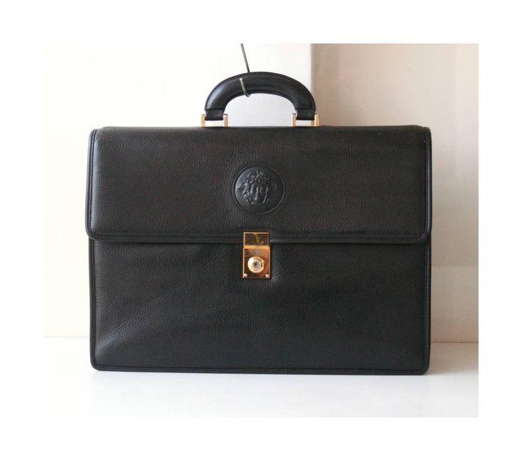 Gianni Versace Black Leather Briefcase vintage authentic Handbag Medusa by hfvin on Etsy  #versace #black #medusa #briefcase #handbag #hfvin