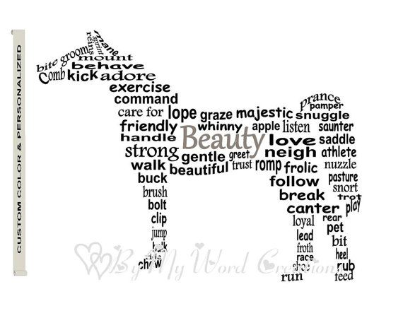 Personalized Horse Art Horse Word Art Pet Art by ByMyWordCreations