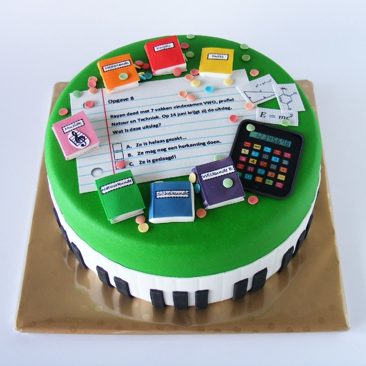 Inspiration (no recipe): graduation cake with books of all subjects and related items like a calculator.