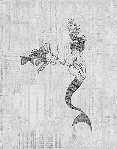 Vintage Mermaid & Fish Print for Wall Art & Home Decoration Cute Illustration Wall Art Poster or Print in a Vintage Gray Script Paper Style - Office Bedroom Living Room Home Decor (16 x 20 Inches) - $44.9900