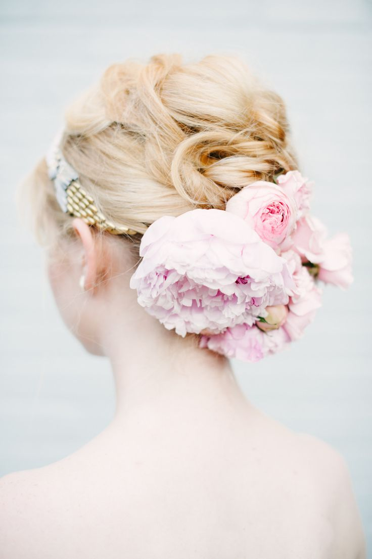 up-do decorated with fresh #peonies Photography: Brklyn View Photography - www.brklynview.com, Florals by http://www.lindsayraedesign.com, Event Design by http://www.lindsayraedesign.com  Read More: http://stylemepretty.com/2013/10/14/after-wedding-inspiration-from-michelle-edgemont-brklyn-view-photography/