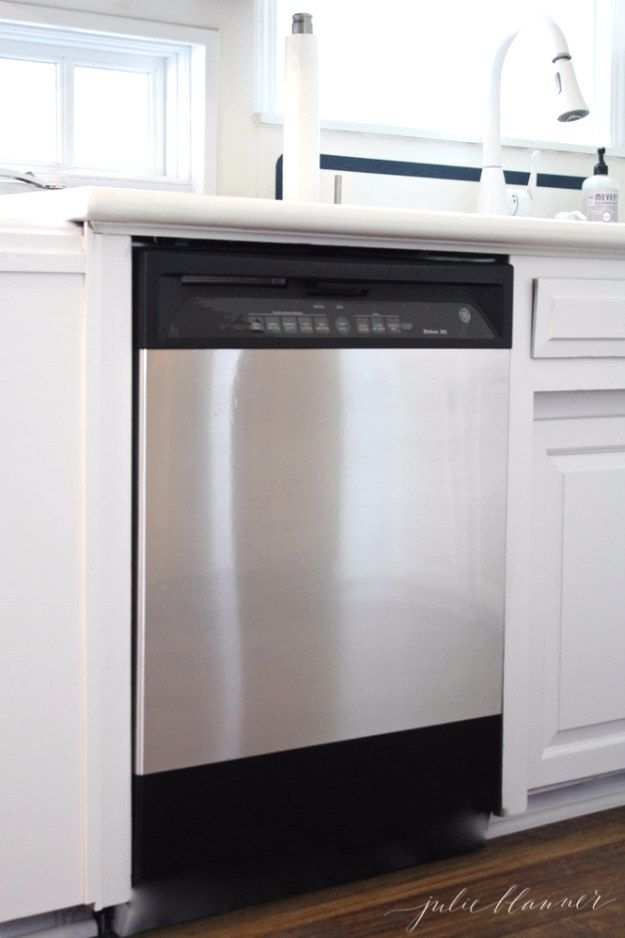 Instantly upgrade appliances with stainless steel contact paper.