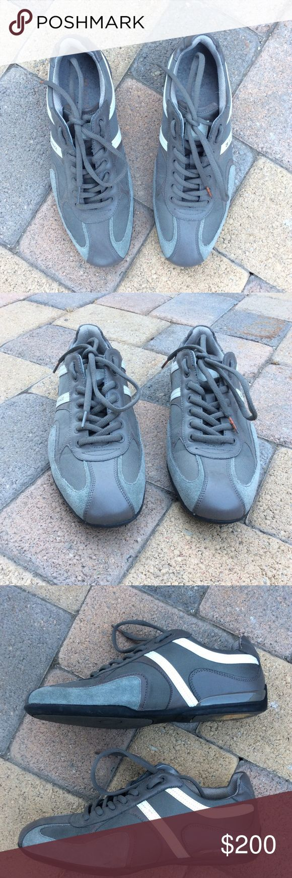 Orange boss shoes Boss orange shoes by Hugo boss. My uncle paid full price. These are made with textile coated leather, try are a nice cool muted grey, teal color, with some white strips on them. Only worn once. European size 40 BOSS ORANGE Shoes Sneakers
