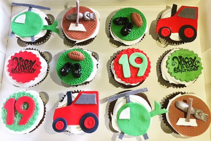 Helicopter, Sheering, Rugby, Rugby ball,  Massey Ferguson Tractor, Happy birthday cupcakes.  Check out my page https://www.facebook.com/frosted.cupcakes.invercargill/