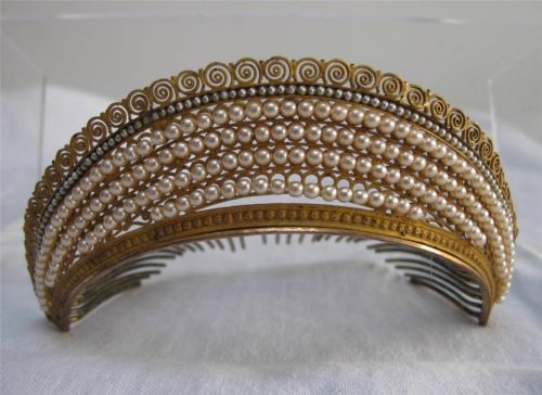 Antique French Empire Gilt Ormolu Seed Pearl Tiara Diadem Hair Comb C1810