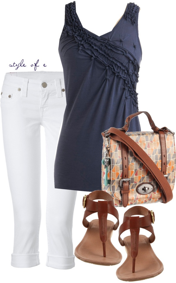 """""""Pintucked Tank"""" by styleofe ❤ liked on Polyvore"""