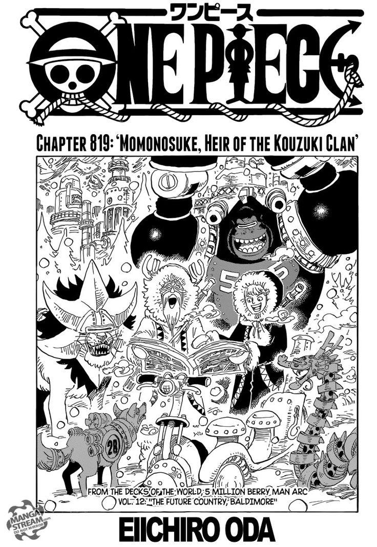 Shintigercurl reads One Piece, chapter 819: MOMONOSUKE, HEIR OF THE KOUZ...