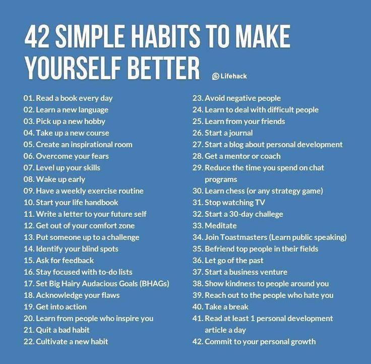 42 Habits to make yourself better. #inspiration #lifehacks