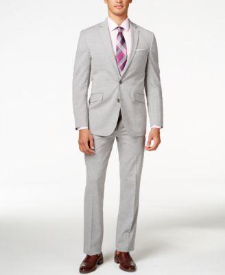 Kenneth Cole Reaction Men's Light Grey Sharkskin Slim-Fit Suit