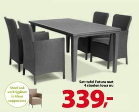 #Tuinset futura ibiza-iowa set: tafel futura met 4 stoelen iowa - #Allibert geldig t.e.m. 30/06/'15 #Gamma