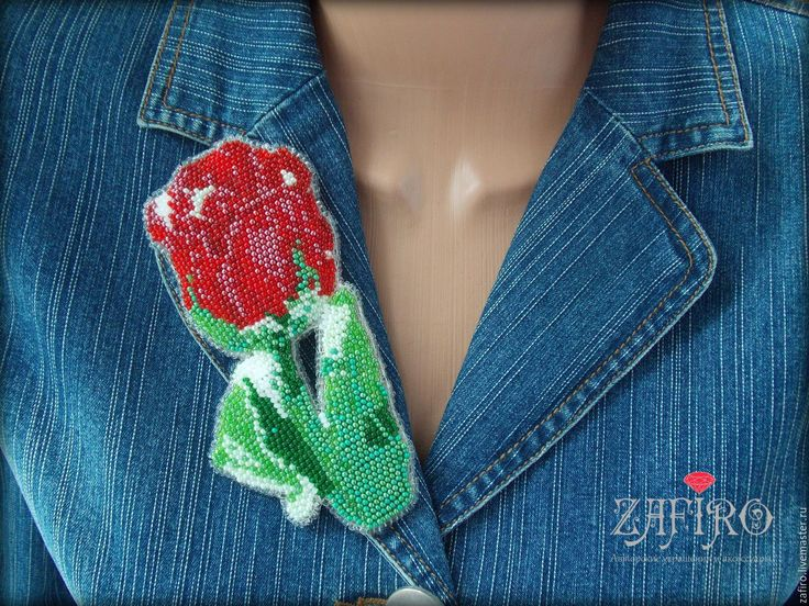 """Купить Брошь из бисера """"Тюльпан"""", вышивка бисером, крупная брошь, цветок - брошь из бисера"""