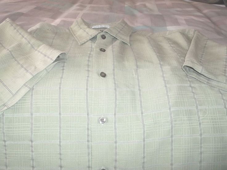 Men's Geoffrey Beene Shirt Muted Plaid Size L/G 16-16 1/2 Green Plaid Button #DavidTaylor #ButtonFront