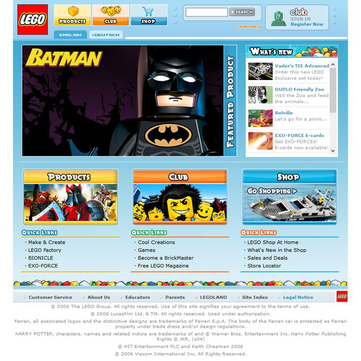 Lego website 2006
