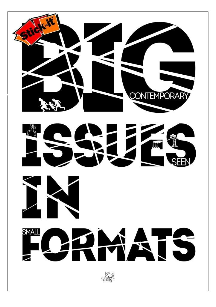 "The poster for my 2nd solo show: ""Big Contemporary Issues Seen In Small Formats"".  It has 5x5cm stickers #Typography #Lettering #Logos #Symbols #Design #Posterdesign #Icons #Graphics #GraphicDesign #Quotes #Artivism #Art #florinakkis"
