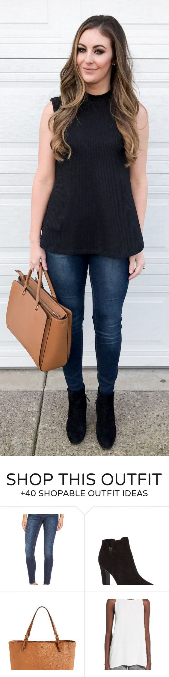 #spring #fashion Black Top & Brown Leather Tote Bag & Black Booties