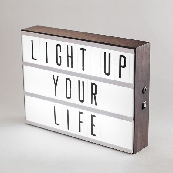 Make your words stand out in style! This handmade dark-stained wooden lightbox is a perfect way to illuminate your favourite phrases. Limited