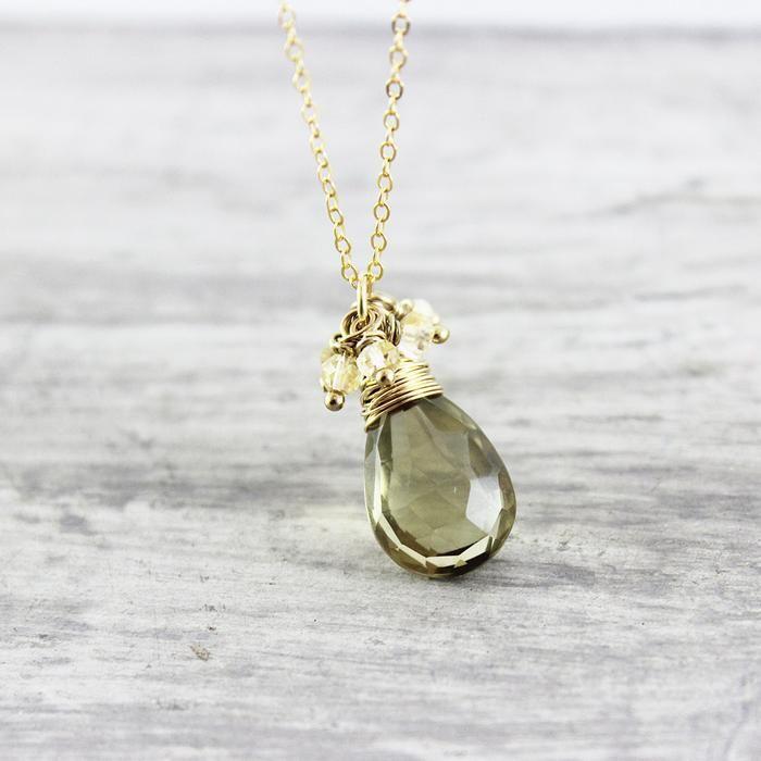 Gold Citrine & Quartz Necklace - As Worn on Cedar Cove | Necklace | Jewelry | Druzy Jewelry | #druzy #druzyjewelry #jewelry #handmadejewelry | www.starlettadesigns.com