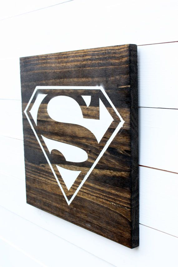 Superman Logo Rustic Wood Kids Sign by RozCustomCreations on Etsy