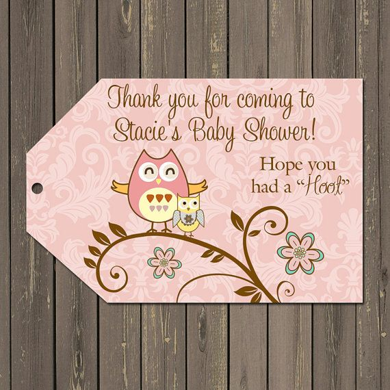 Owl Favor Tags Owl Baby Shower Favor Tags Owl by PartyPopInvites