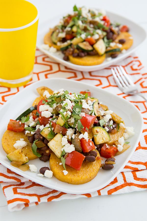 Mexican Baked Polenta with Salsa Beans and Sautéed Veggies from @Oh My Veggies