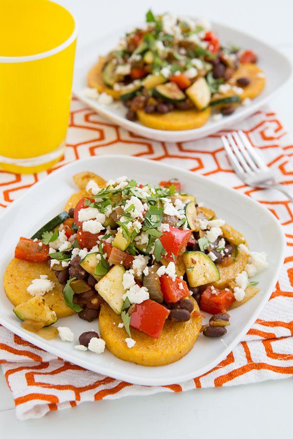Mexican Baked Polenta with Salsa Beans and Sautéed Veggies