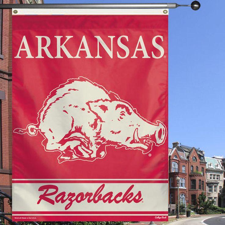 """Arkansas Razorbacks 27"""" x 37"""" Vertical College Vault Banner Flag - Cardinal/White"""