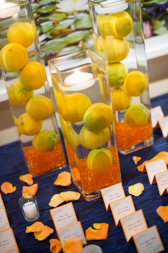 Cylinder Vases With Lemons And Floating Candles Make A Wonderful Centerpiece Or Place Card