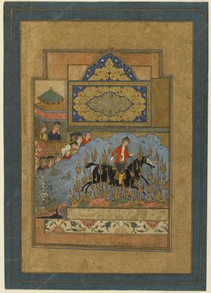 Folio from a Shahnama (Book of kings) by Firdawsi (d.1020); Siyawush's ordeal by fire circa 1590 Safavid period Opaque watercolor, ink, and gold on paper H: 34.1 W: 24.1 cm Isfahan?, Iran Purchase--Smithsonian Unrestricted Trust Funds, Smithsonian Collections Acquisition Program, and Dr. Arthur M. Sackler S1986.210 Freer-Sackler | The Smithsonian's Museums of Asian Art