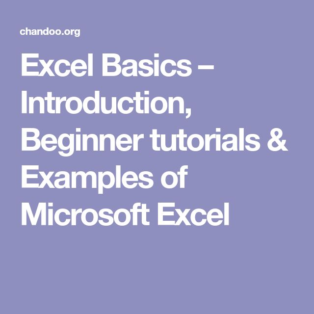Excel Basics – Introduction, Beginner tutorials & Examples of Microsoft Excel