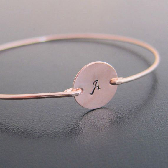 Rose Rose Gold Initial Bracelet Personalized Rose by FrostedWillow
