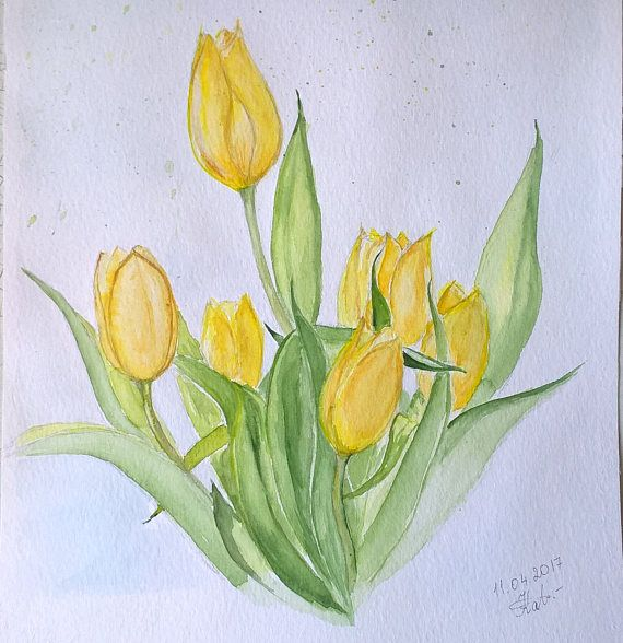 Gelbe Tulpen Original Aquarell Aquarell Wand Kunst Nicht Gerahmt