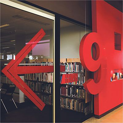 A nice design, with number nine. Wayfinding | Five Dock Library #wayfinding and #signage