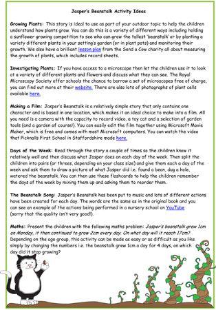Jasper's Beanstalk Activity Ideas