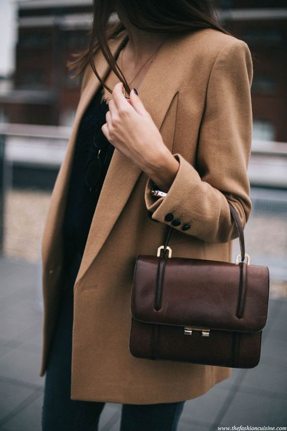 Camel jacket brown bag