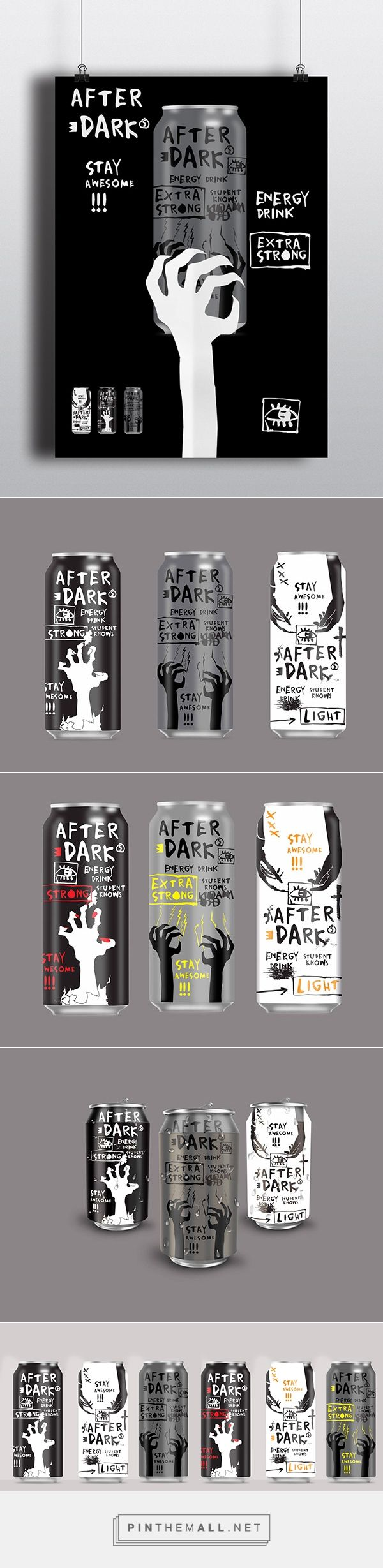 After Dark energy drink (student work) designed by Ana Pesic. Pin curated by #SFields99 #packaging #design