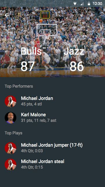 Material Design exploration: NBA scores