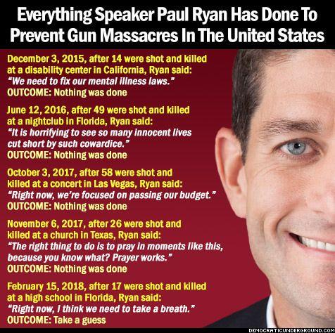 Pic Of The Moment: Everything Speaker Paul Ryan Has Done To Prevent Gun Massacres In America - Democratic Underground