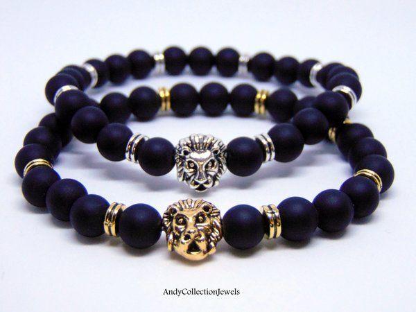 Splendid Men's Black Matte Agate Bracelet with Gold-Tone or Silver-Tone Lion head