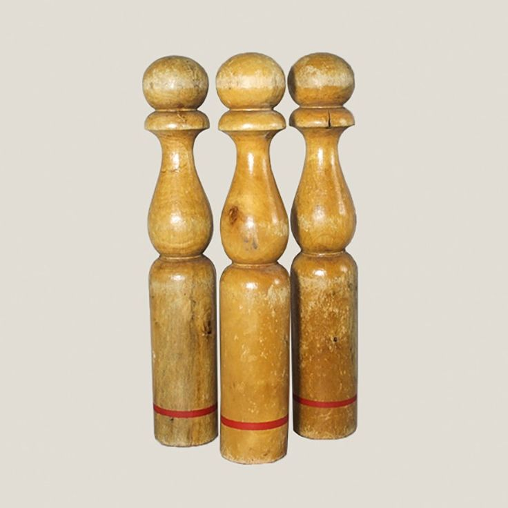 These vintage wooden skittles will add a unique decorative touch to a nursery or kids room. Available from Vintage Matters