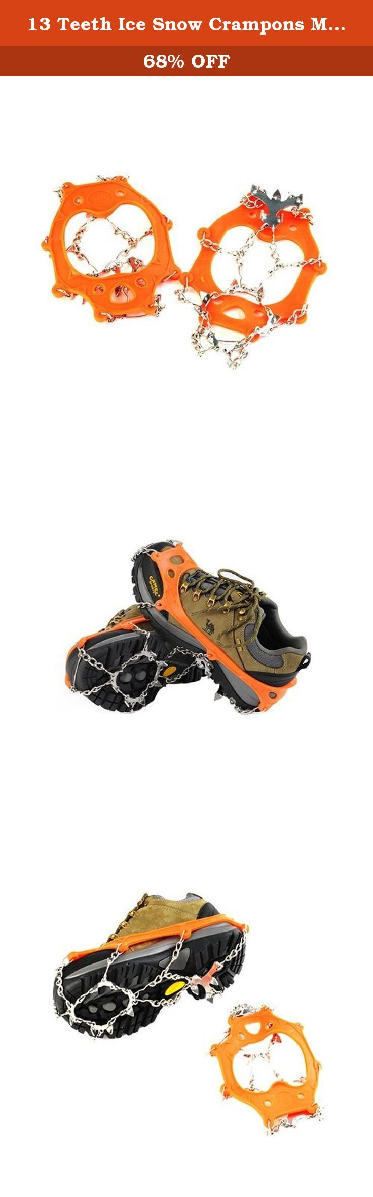 13 Teeth Ice Snow Crampons Mountaineering Equipment Hybrid Crampon Foot Bouldering Shoes Quickdraws Camp Crampons Rock Climbing Tools 1 Pair Orange. Material: TPR( Thermal Plastic Rubber) and stainless steel Color:black orange Package:1 pair + elastic band Cooperate with all kinds of sport shoes, hiking shoes, and mountain boots, etc. Crampons ONLY, shoes displayed NOT included.