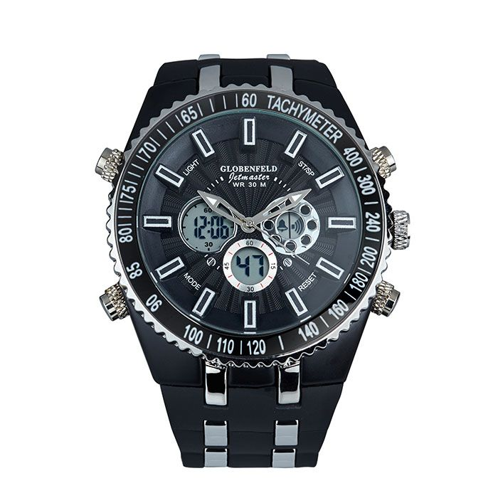 Globenfeld Jetmaster,Sport watch with robust rubber bracelet, jet black dial with metal indices.