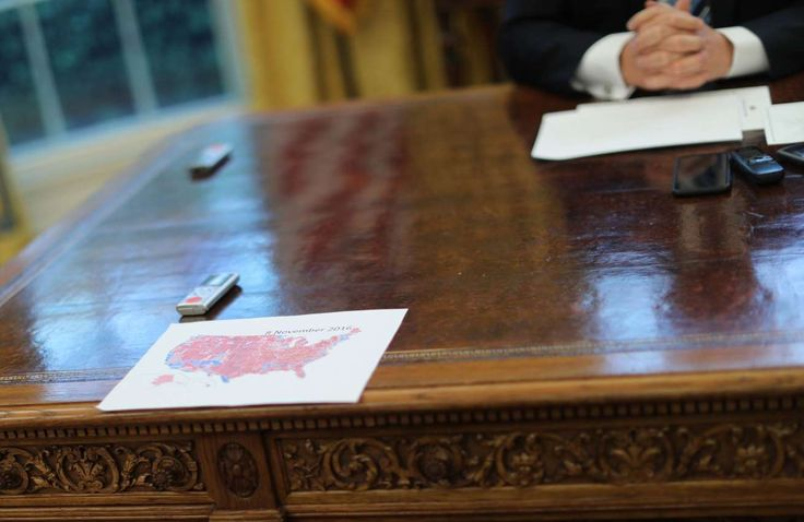The 11 craziest moments from Trump's flurry of 100-day interviews  -  April 29, 2017:      6. Speaking of maps, Trump keeps a handout of the 2016 Electoral College map on his desk.  -      More than five months after his victory and two days shy of the 100-day mark of his presidency, the election is still on Trump's mind. Midway through a discussion about Chinese President Xi Jinping, the president paused to hand out copies of what he said were the latest figures from the 2016 electoral map.