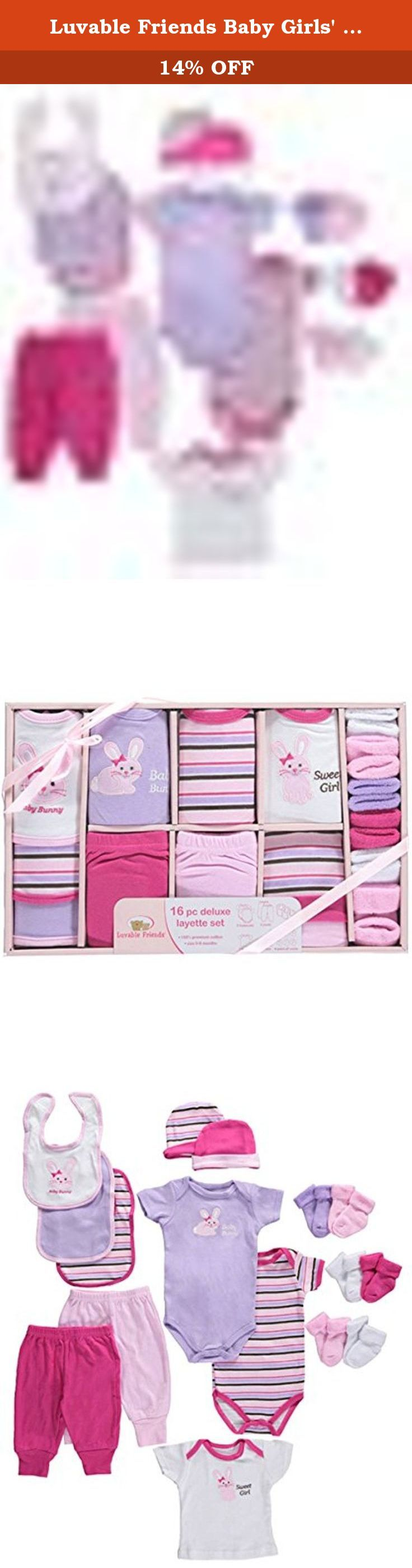 """Luvable Friends Baby Girls' """"Sweet Bunny"""" 16-Piece Layette Set - pink, 0 - 6. Ensure your new arrival has outfits galore with this comprehensive 16-piece set from Luvable Friends. All items are made of the very softest cotton. A variety of patterns and adornments offers great mix-n-match options. The view-thru gift packaging is perfect for showers. Includes: 2 Bodysuits (100% Cotton) 2 Pants (100% Cotton) 3 Bibs (100% Cotton) 1 T-Shirt (100% Cotton) 2 Caps (100% Cotton) 6 Socks (100%…"""