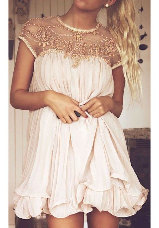 Love Love Love this Dress! Sweet and Sexy Apricot Pink Plain Beading Pleated Cap Sleeve Chiffon Dress #Sweet #Sexy #Apricot #Beaded #Chiffon #Dress #Fashion